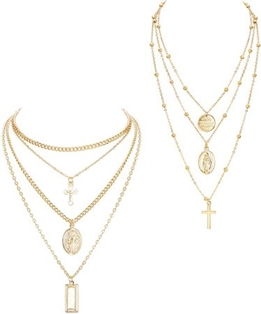 Amazon.com: ORAZIO 2PCS Layered Necklace for Women Girl Cross Blessed Virgin Mary Pendant Necklace Chain Gold Tone: Jewelry