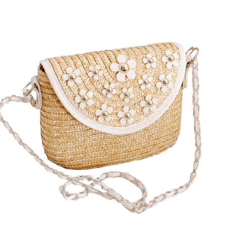 Womens Straw Crossbody Bag with Daisy Details - COSEEY