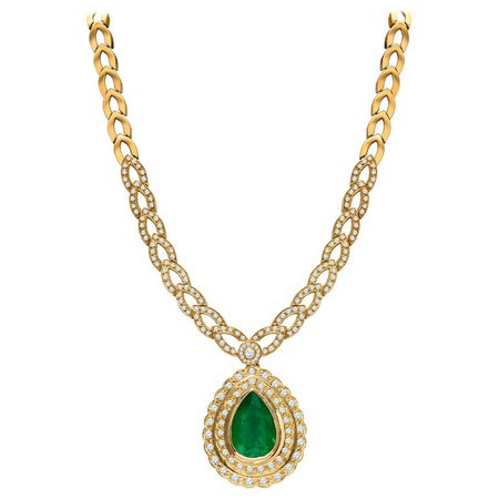 Estate 18K GIA Certified 22.39 CTW Colombian Emerald and Diamond Designer Necklace For Sale at 1stdibs