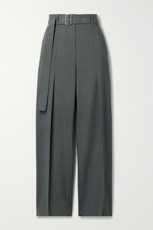 Belted Wool-blend Straight-leg Pants - Gray