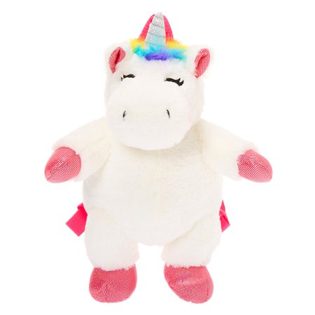 Claire's Club Plush Unicorn Backpack - White | Claire's
