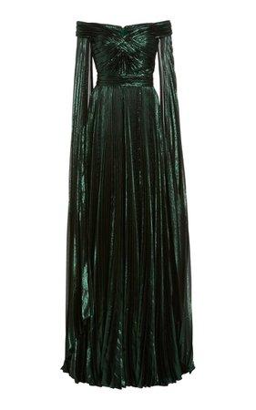 Off-The-Shoulder Metallic Silk-Blend Plissé Gown By Zuhair Murad | Moda Operandi