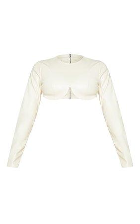 Cream Pu Wired Underbust Long Sleeve Crop Top   PrettyLittleThing USA