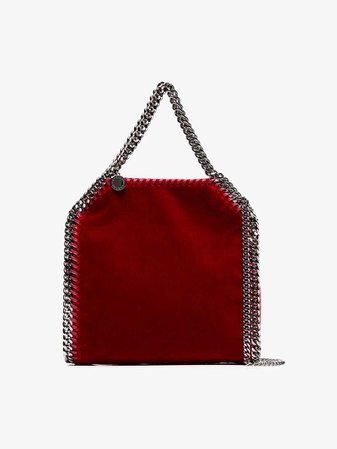 Stella McCartney red falabella mini velvet shoulder bag | Shoulder Bags | Browns