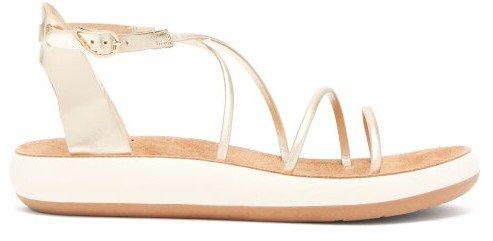 Anastasia Metallic Leather Sandals - Gold