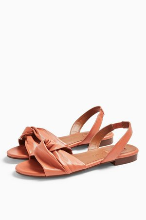 LUCKY Blush Pink Leather Knot Slingback Flat Shoes | Topshop