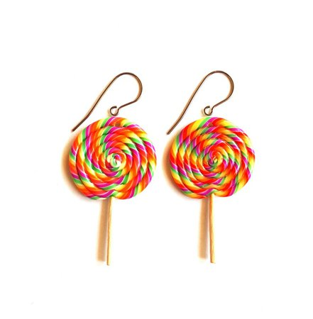 Rainbow Lollipop Earrings Candy Earrings Retro Giant   Etsy