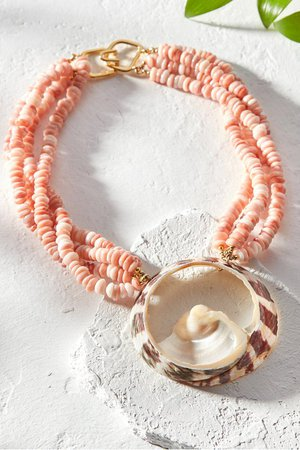 Layered Pink Shell Necklace - Shell Pendant Necklace | Soft Surroundings