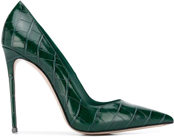 Eva crocodile-effect leather pumps