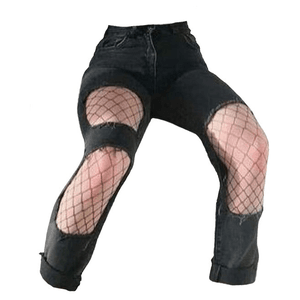 Black Jeans With Fishnets PNG