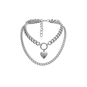 Silver Chain Heart Choker Necklace