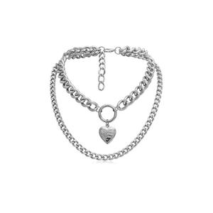 Silver Chain Heart Choker Necklace