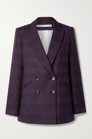 Oria Dickey Checked Woven Blazer - Purple