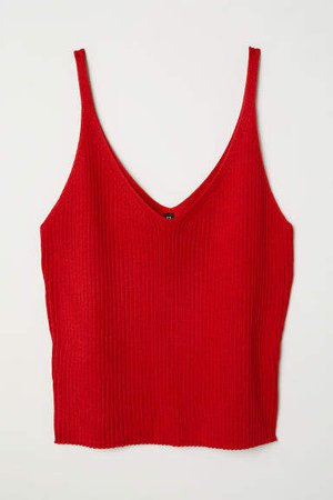 Ribbed Camisole Top - Red