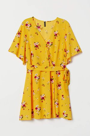 H&M+ Creped Wrap-front Dress - Yellow