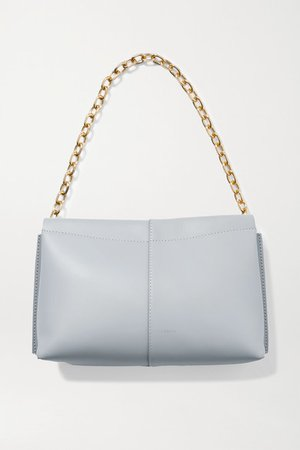 Carly Mini Leather Shoulder Bag - Light gray
