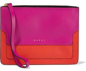 Two-tone Textured-leather Clutch