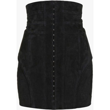 Suede mini skirt | Women's leather skirts | Balmain