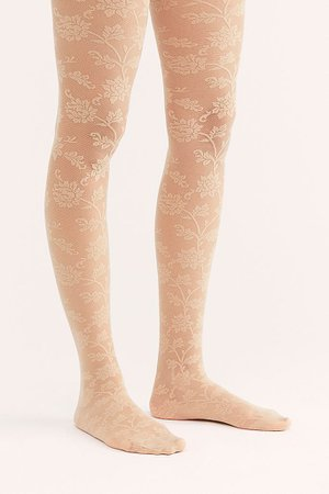 Micro Mesh Floral Lace Tights | Free People