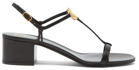 V-logo Block-heel Leather Sandals - Black