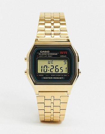 Casio A159WGEA-1EF unisex gold digital watch   ASOS