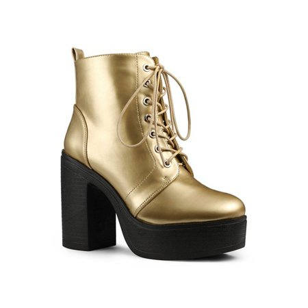Allegra K - Allegra K Women's Zip Platform Chunky Heel Combat Boots Gold 6.5 - Walmart.com - Walmart.com