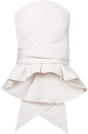 Brandon Maxwell - Bow-detailed Silk-twill Bustier Top - Ivory