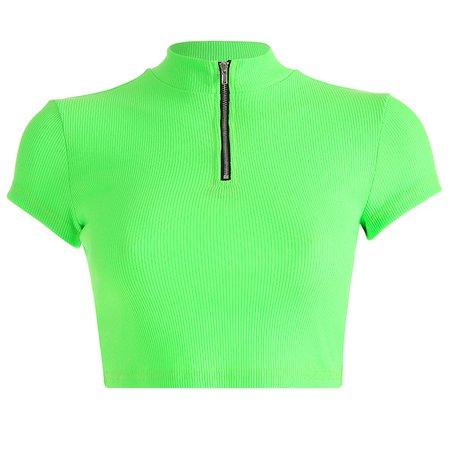 Zipper turtleneck green crop top