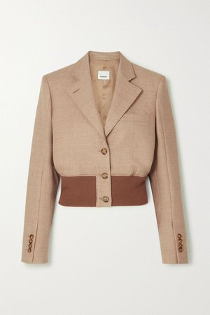 Beige Cropped wool-blend and stretch-knit blazer | Burberry | NET-A-PORTER