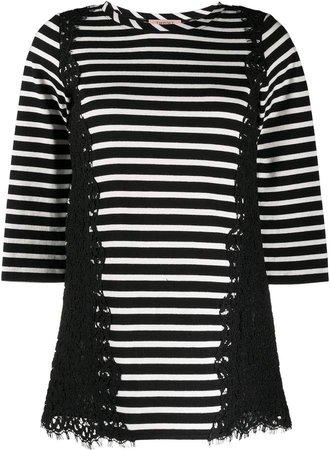 3/4 Sleeve Striped Print Top