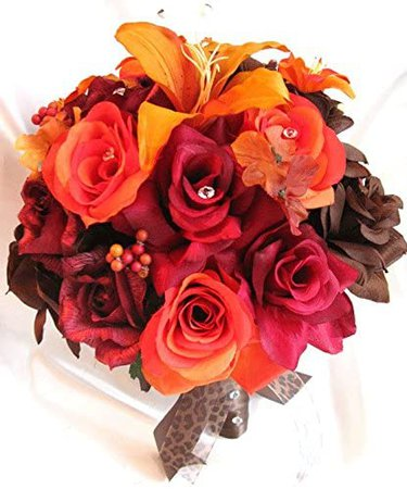"""Amazon.com: Wedding bouquets Bridal Silk flower BURGUNDY Burnt ORANGE Lily BROWN Fall 17 pcs package Artificial bouquet boutonnieres """"Roses and Dreams"""": Kitchen & Dining"""