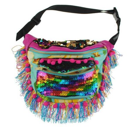 BAMBI Leather tassel pompom bumbag fannypack