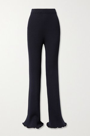 Carmine Ribbed Silk And Cotton-blend Straight-leg Pants - Navy