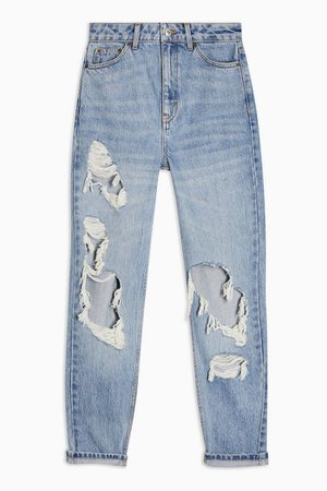 Bleach Super Rip Mom Tapered Jeans | Topshop