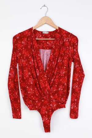 Free People Turnt - Red Floral Print Bodysuit - Surplice Bodysuit - Lulus