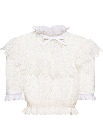White Miu Miu cropped lace top - Farfetch