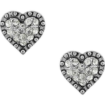 Betsey Johnson Silver Heart Stud Earrings