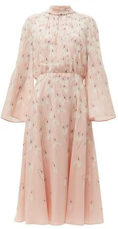 Snowdrop Print Silk Midi Dress - Womens - Pink Multi