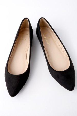 Chic Black Flats - Suede Flats - Vegan Flats - Classic Flats - Lulus