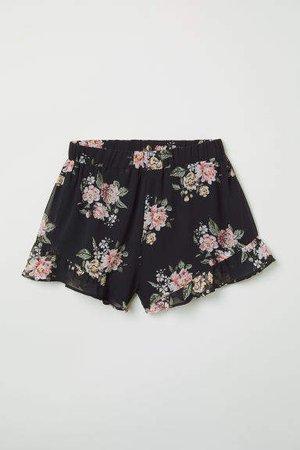 Ruffle-trimmed Chiffon Shorts - Black