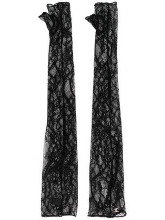 Chanel 2000's Fingerless Lace Gloves In Black | ModeSens