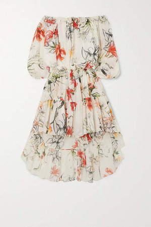 Asymmetric Ruffled Tiered Floral-print Cotton-voile Dress - Ivory