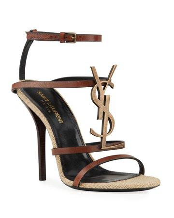 Saint Laurent Cassandre YSL 110mm Sandals   Neiman Marcus