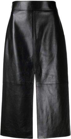 slit leather skirt