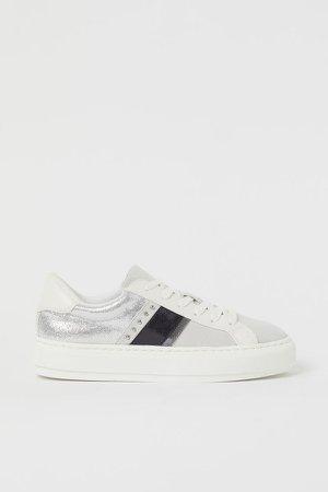 Faux Suede Sneakers - Beige