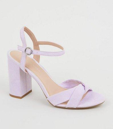 Wide Fit Light Purple Suedette Cross Strap Heels | New Look