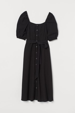 Creped Cotton Dress - Black