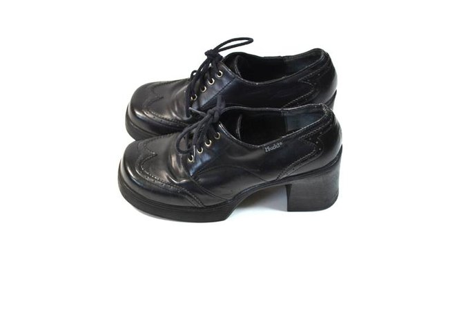 Vintage Black Chunky Heel Shoes Black Mudd Shoes 90s Mudd 90s | Etsy