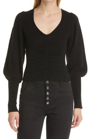 Shirred Recycled Cashmere & Wool Crop Sweater   Nordstrom