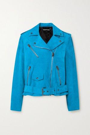 Blue Suede biker jacket   TOM FORD   NET-A-PORTER
